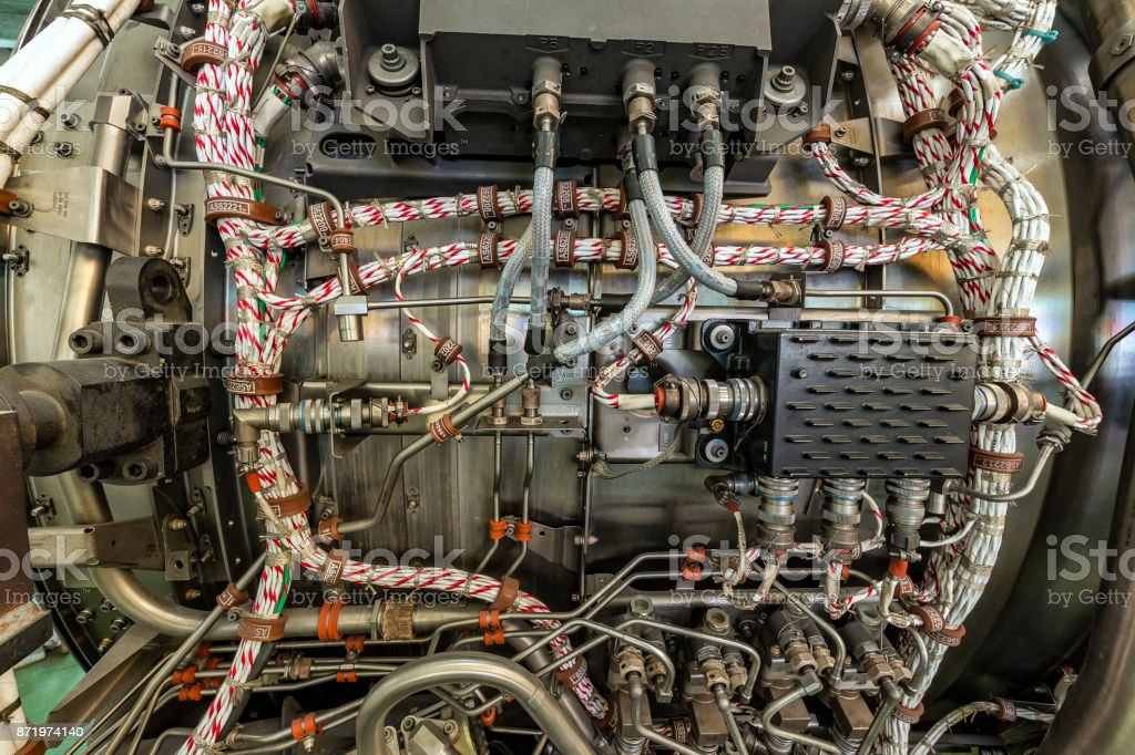 Detailed exposure of a turbo jet engine stock photo