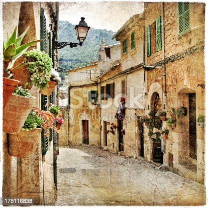 charming streets of old mediterranean towns (artistic picture in painting style)