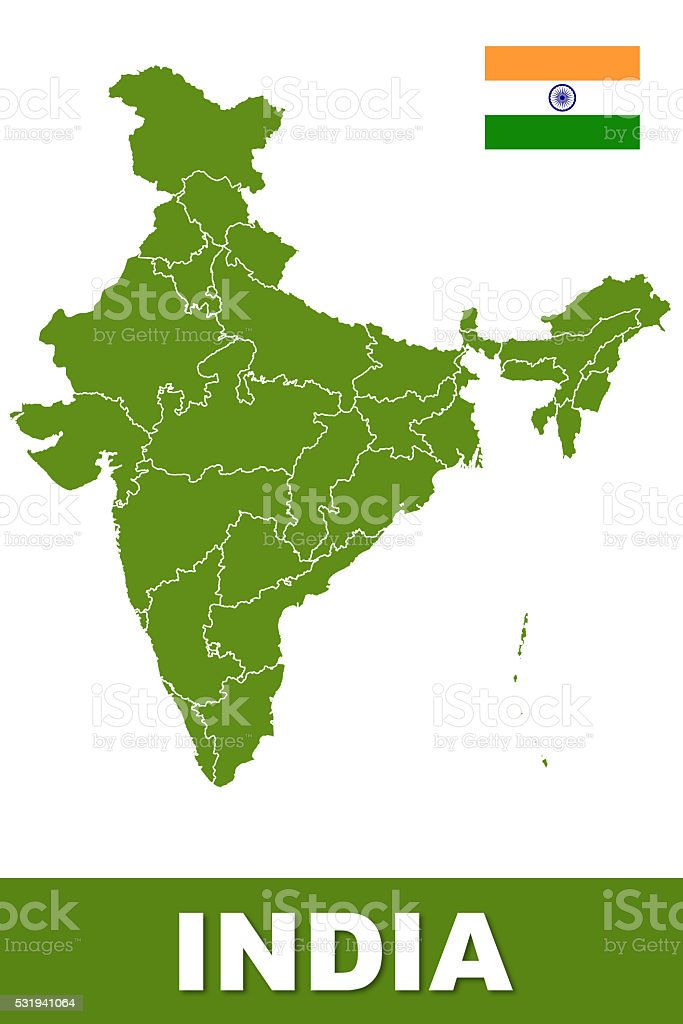 Detailed India Map stock photo