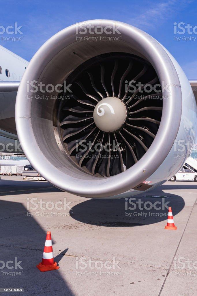 detailed insigh tturbine blades of an aircraft jet engine, business...