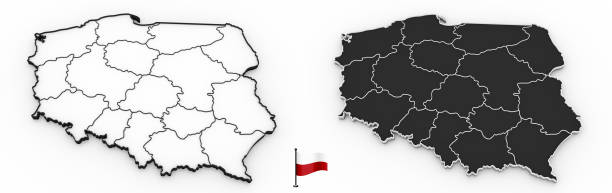 Detailed map of Poland with national regions stock photo