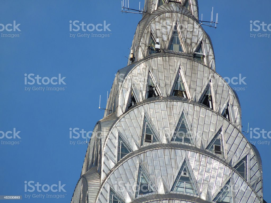 Detailed mosaic work on Chrysler Building against the sky stock photo