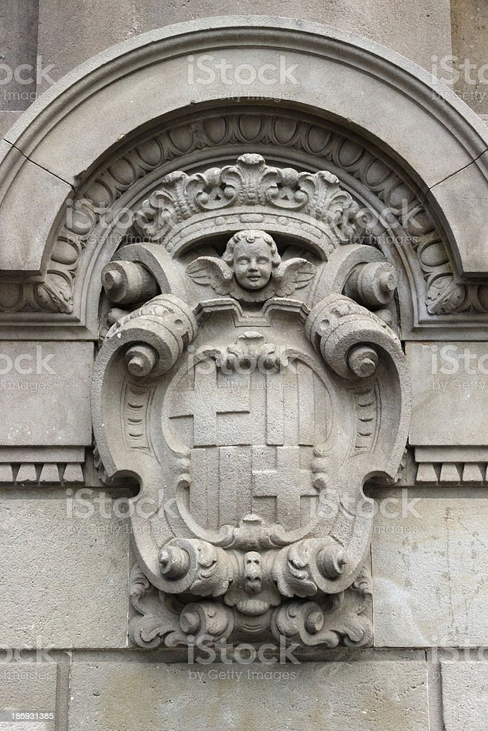 detailed old heraldry of Barcelona royalty-free stock photo