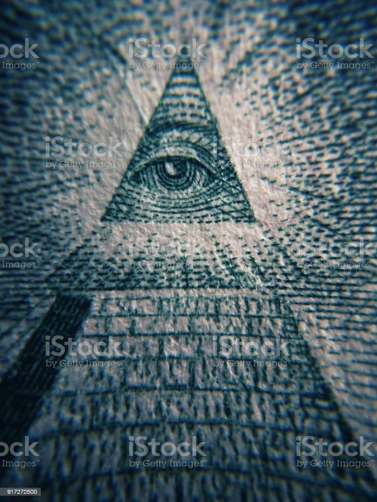 Detailed photo of Eye of Providence on currency stock photo