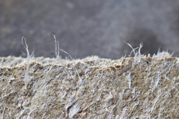 Detailed photography of roof covering material with asbestos fibres. - foto stock