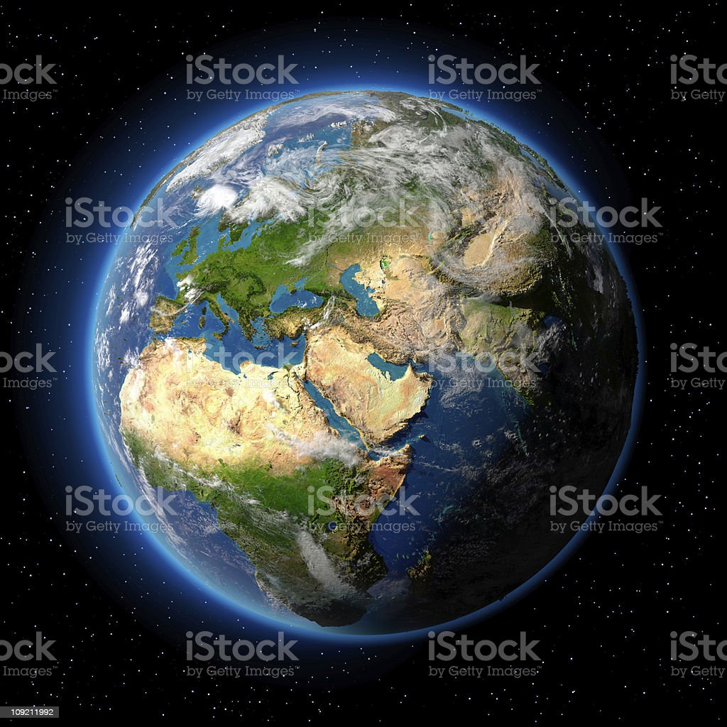 Detailed topography of Earth in space on black royalty-free stock photo