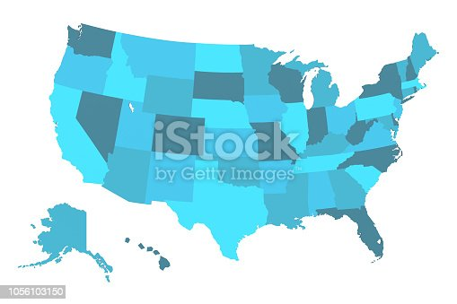 istock Detailed USA Map 1056103150