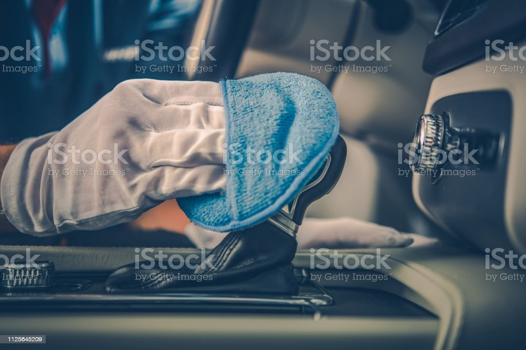 Detailed Modern Vehicle Interior Cleaning Closeup Photo. Car Cleaning...