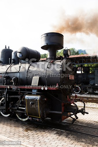 istock Detailed view of a smoking steam locomotive with wheels, kettle and fireplace, Serbia 1263648016