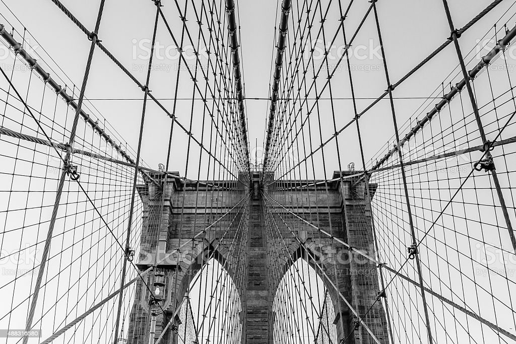 Detailed view of Brooklyn Bridge, New York, USA. royalty-free stock photo