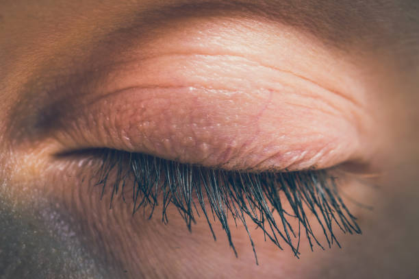 detailed view of closed eye of woman - blinking stock pictures, royalty-free photos & images