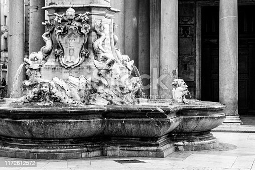 Detailed view of Pantheon Fountain, Italian: Fontana del Pantheon, in the Piazza della Rotonda, Rome, Italy. Black and white image.