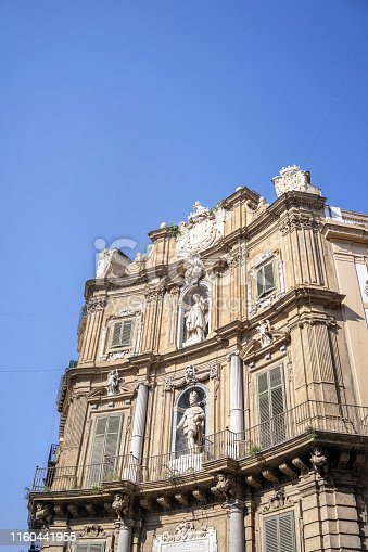 Detailed view of Quattro Canti, Four Corners in Palermo, Sicily