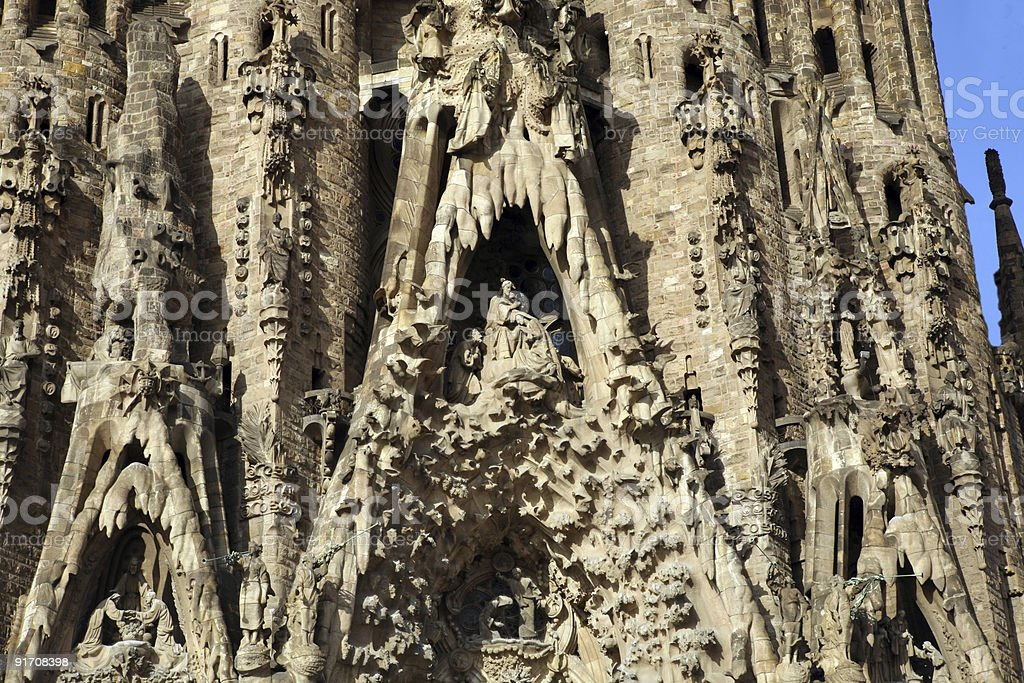 Detailed view of Sagrada Familia stock photo