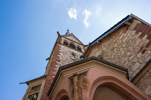 Detailed view of the Martin Luther Church in Staufen im Breisgau