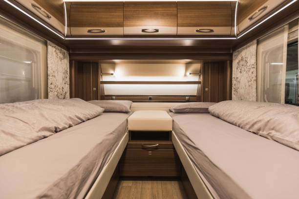 detailed view of white and brown caravan interior detailed view of white and brown caravan interior, switzerland rv interior stock pictures, royalty-free photos & images