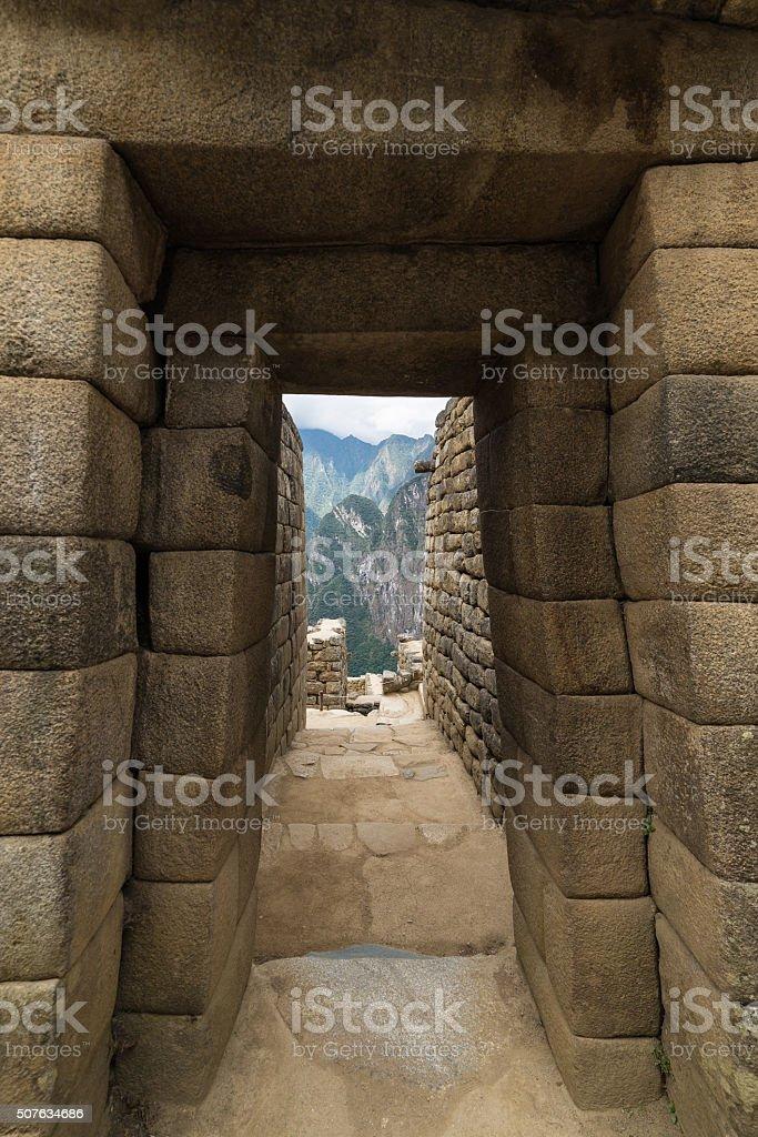 Detailed wide angle view of Machu Picchu buildings, Peru stock photo