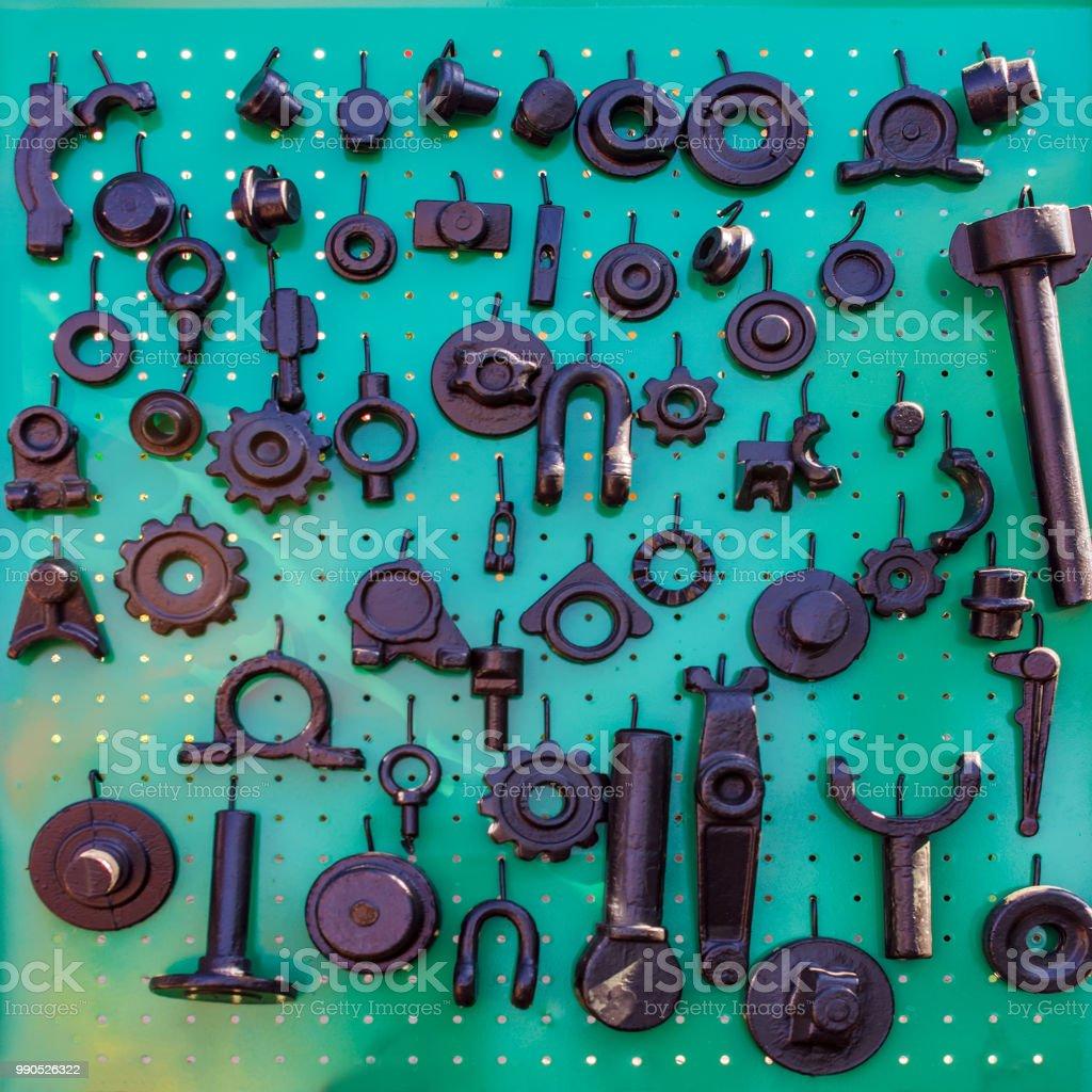 Detalhes e componentes de implementos agrícolas. Máquinas agrícolas. Peças sobressalentes para máquinas agrícolas. - foto de acervo