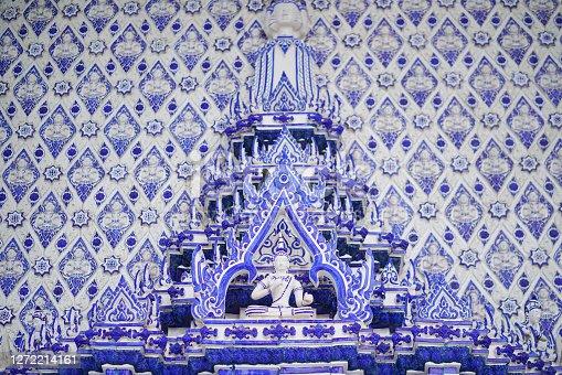 Details at Thai temple. Blue temple at Wat Paknam khaem Nu,Chanthaburi Province,Thailand. one of Landmarks of Chantaburi.