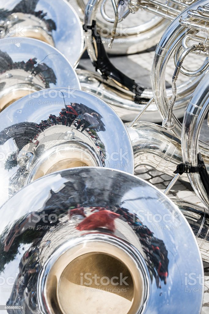 Details from a showband, fanfare our drumband stock photo