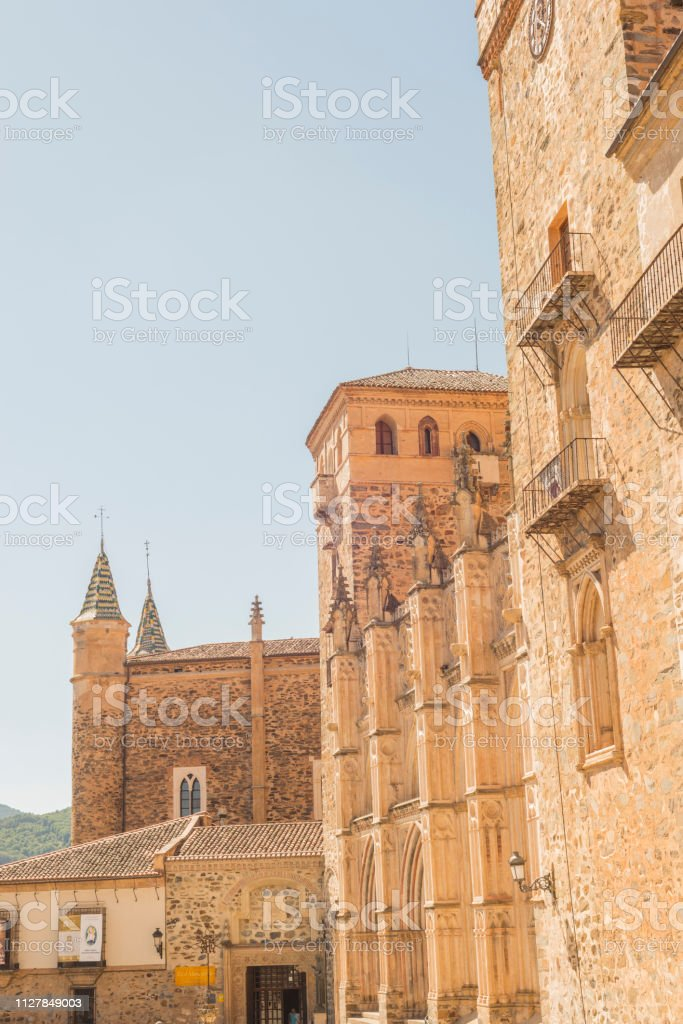 Details Monastery of Guadalupe stock photo
