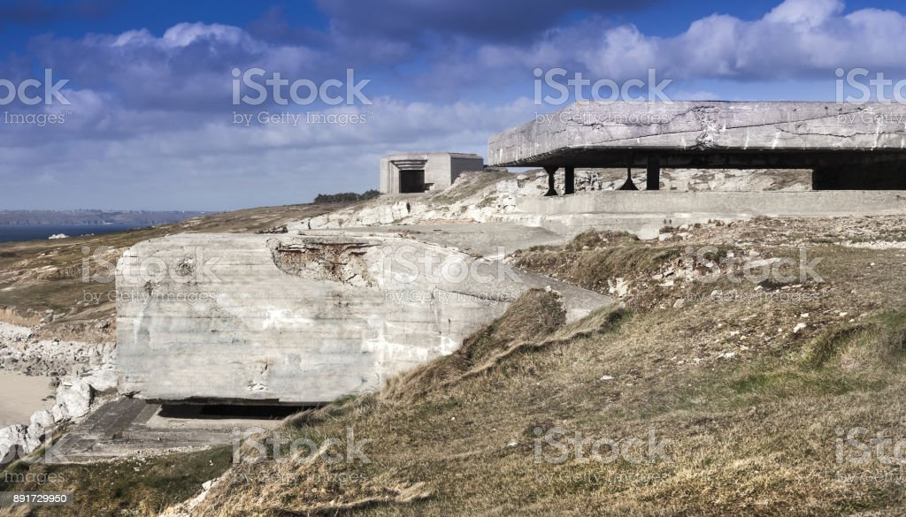 Details of a big bunker system, part of the atlantic wall in France, Memorial Atlantic Battle stock photo