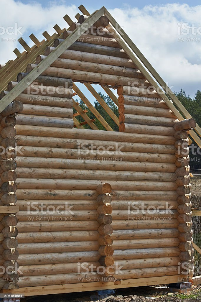 Details of a log home under construction. stock photo