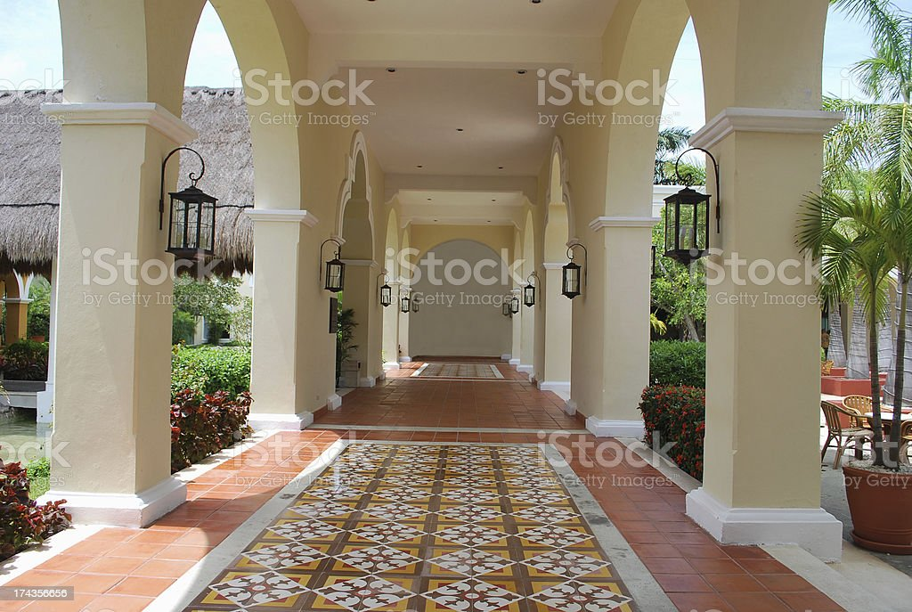 Details of a Luxury Home in Spanish Colonial Style. royalty-free stock photo