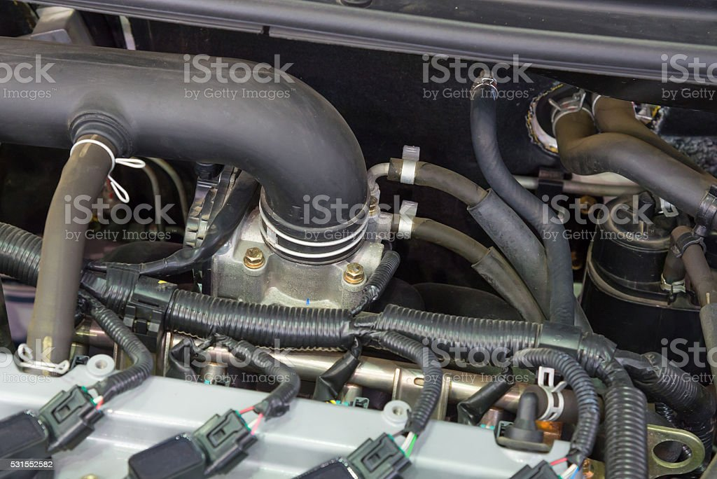 Details of a new car engine stock photo
