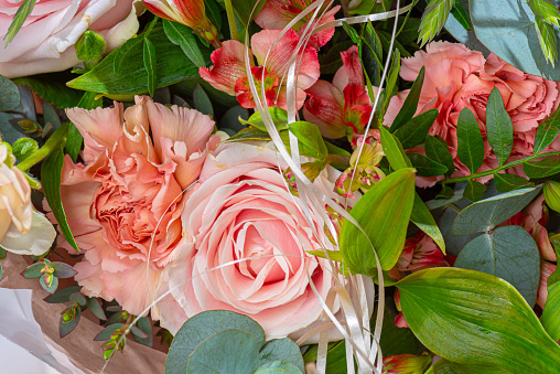 Details of a pink rose bouquet..