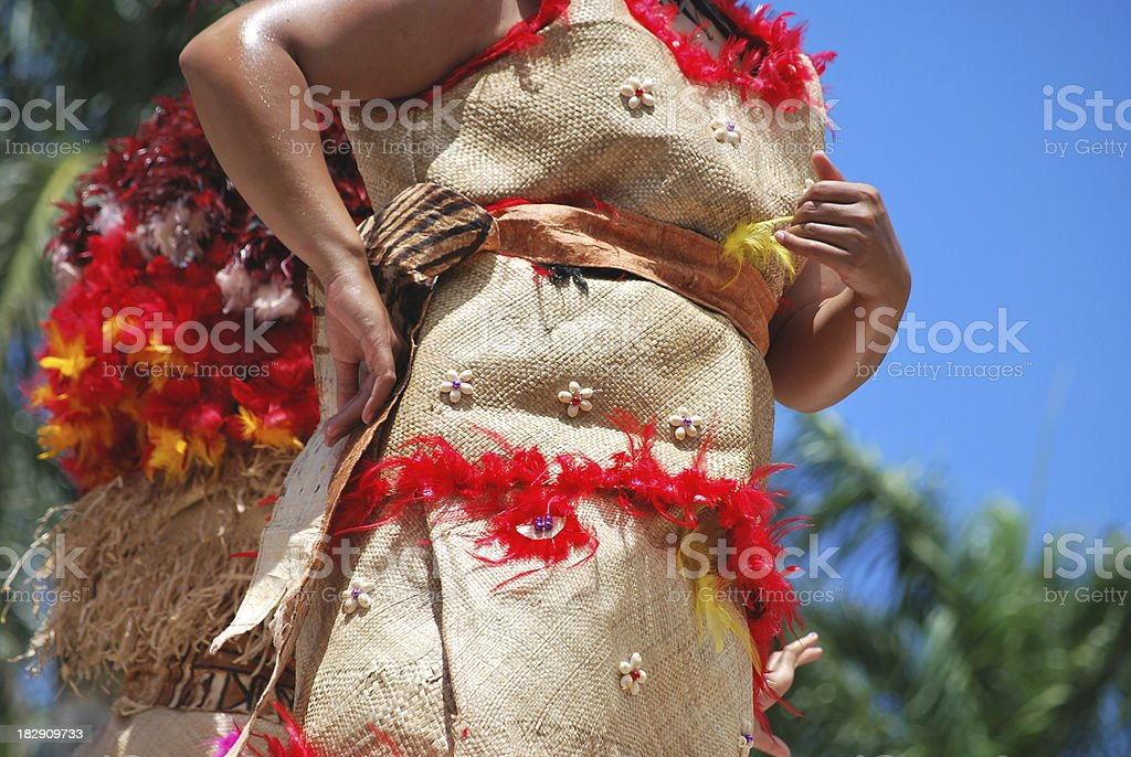 Details of a polynesian costume royalty-free stock photo