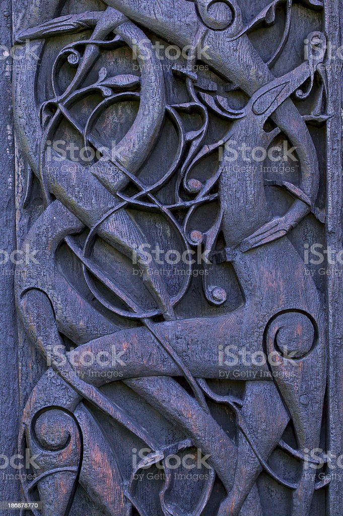 Details of a stave church in norway stock photo
