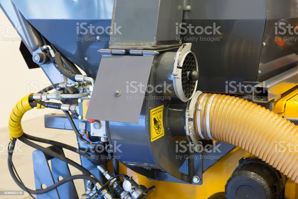 Details of a street sweeper machine car cleaning stock photo