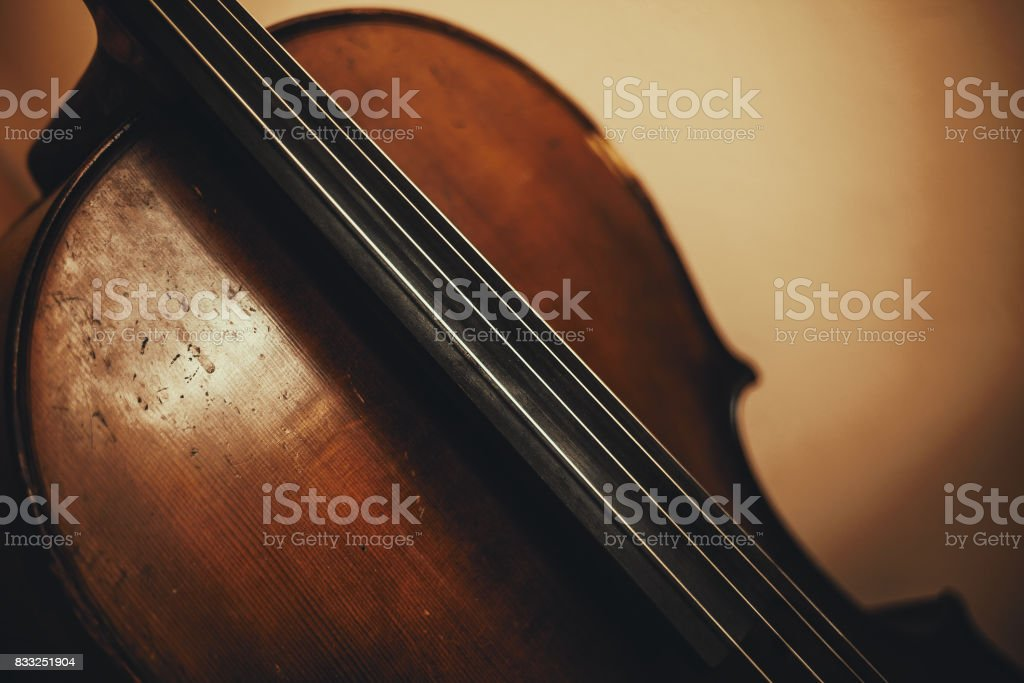Details of an Old Cello stock photo