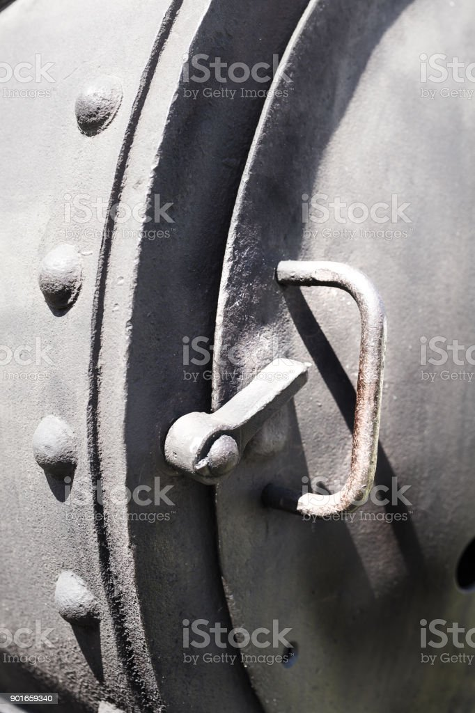 Details of an Old steam engine in Csernat, Transylvania, Romania stock photo
