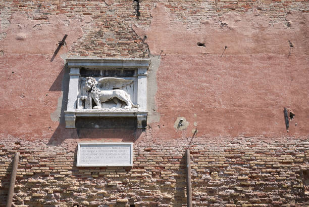 Details of Arsenale di venezia wall Venice, Italy - July 02, 2019 :  details of Arsenale di venezia wall porta magna stock pictures, royalty-free photos & images