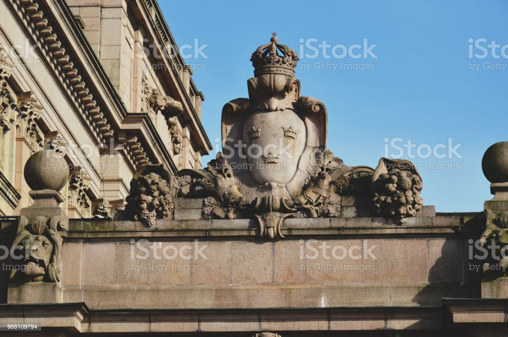 Details of art and decor on Building of The Parliament House of Sweden built in Neoclassical style, with a centered Baroque Revival style facade section, located on nearly half of Helgeandsholmen island, in the Gamla stan, old town district of central Sto stock photo