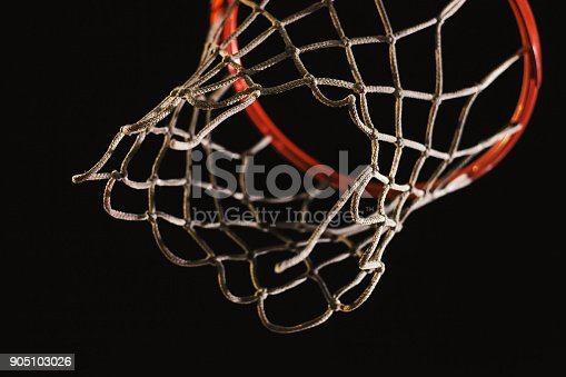 istock Details of Basketball Hoop at Night 905103026
