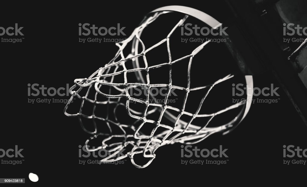 Details of Basketball Hoop at Night stock photo