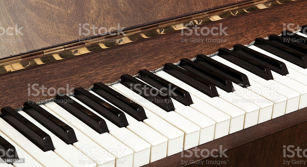 Details of black and white keys on music keyboard stock photo
