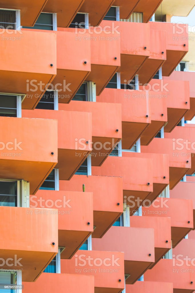 Details of Buildings in Miami Beach stock photo
