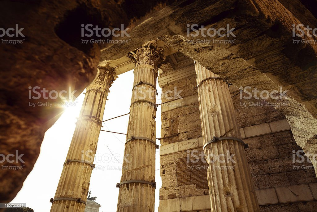Details of capitols at the Roman Forum stock photo
