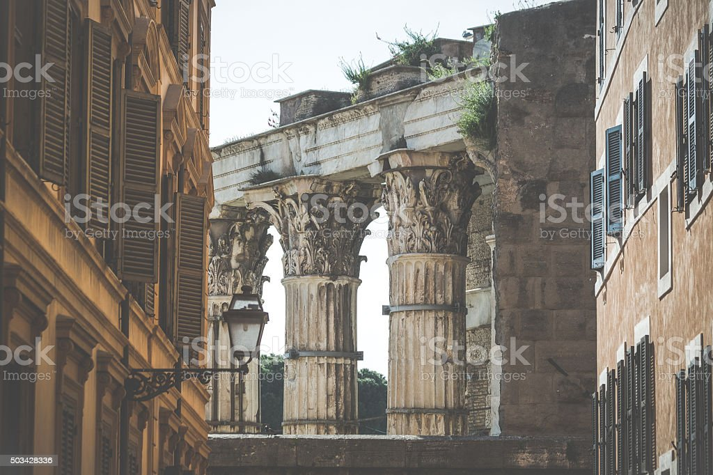 Details of capitols of the Roman Forum in Rome stock photo