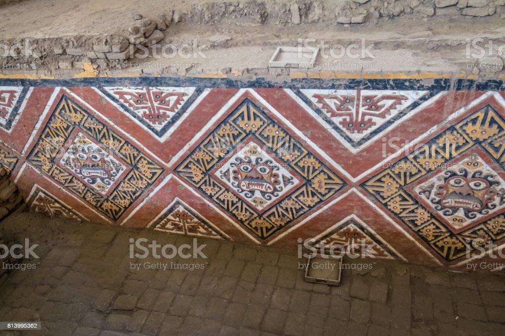Details of carved wall at Huaca de la Luna archaeological site - Trujillo, Peru stock photo