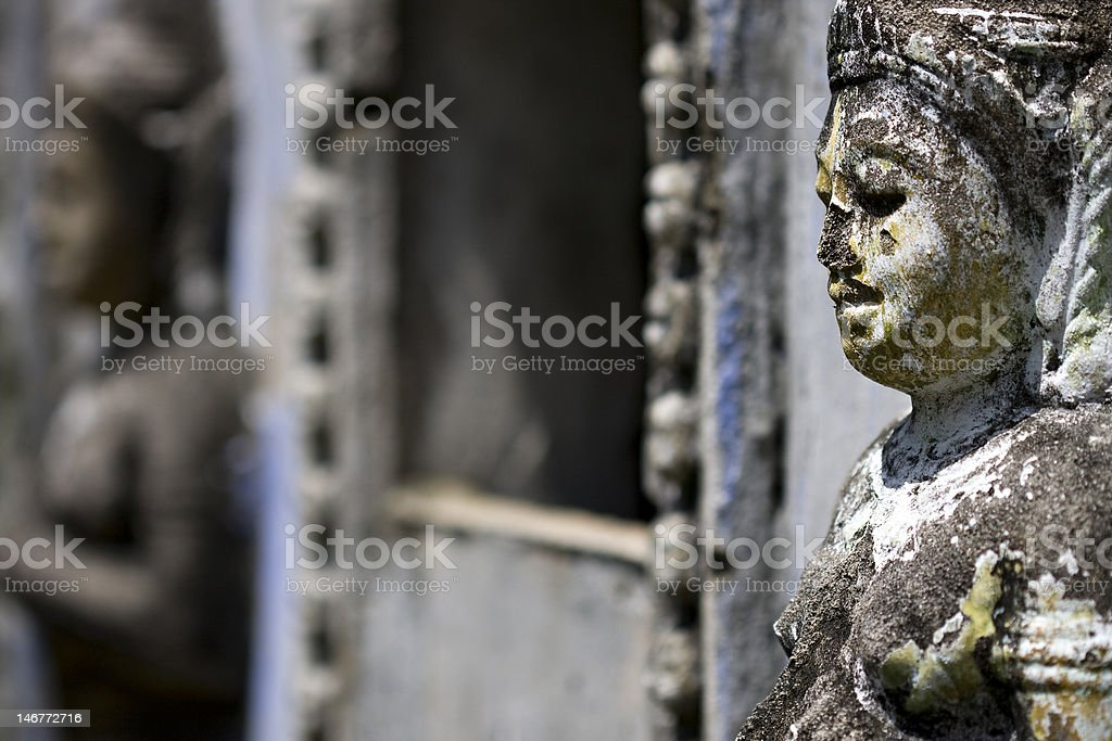 Details of Champa ethnic minority stone carving stock photo
