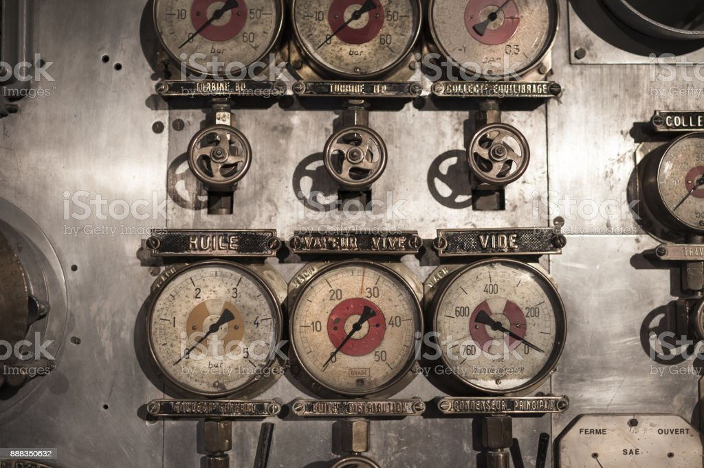 Details of control panel of an old submarine in France, Brest, France stock photo