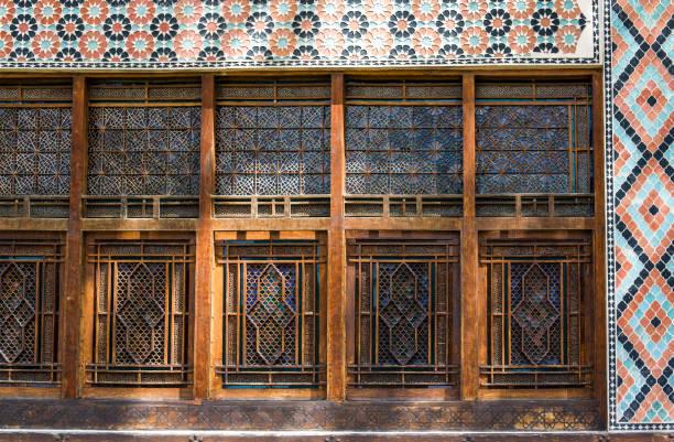Details of decoration of facade of the Palace of Sheki Khans in Sheki, Azerbaijan stock photo