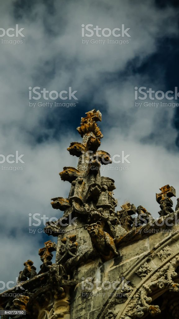Details of exterior of Templar church of the Convent of the Order of Christ, Tomar, Portugal stock photo
