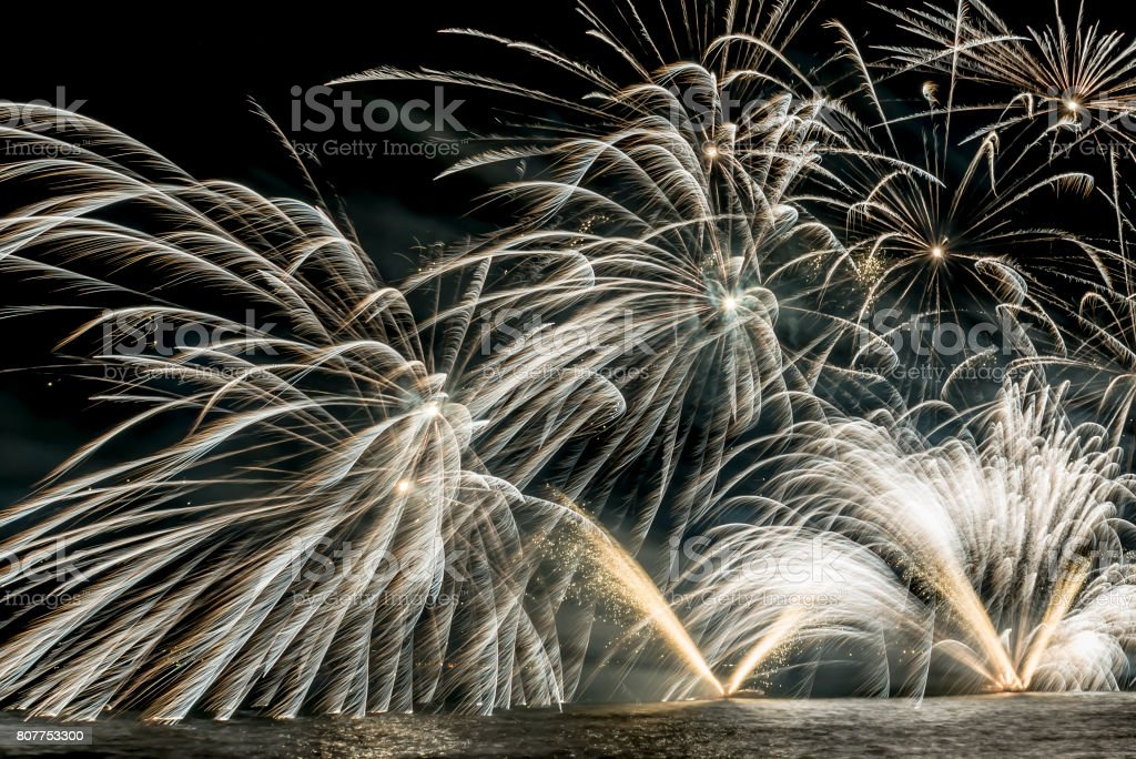 Details of Fireworks on the lake in summer night stock photo