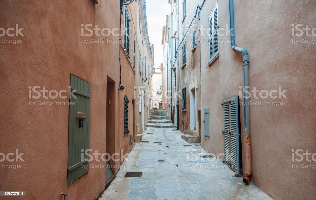 Details of French Provencal architecture, narrow streets in Saint Tropez, France, Cote d'Azur, Provence stock photo